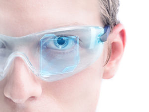 Augmented reality goggles showing prism placement